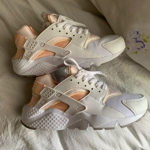 Pink and White Nike Huaraches